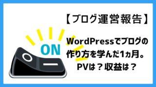 【ブログ運営報告】WordPressでブログの作り方を学んだ1ヵ月。PVは?収益は?